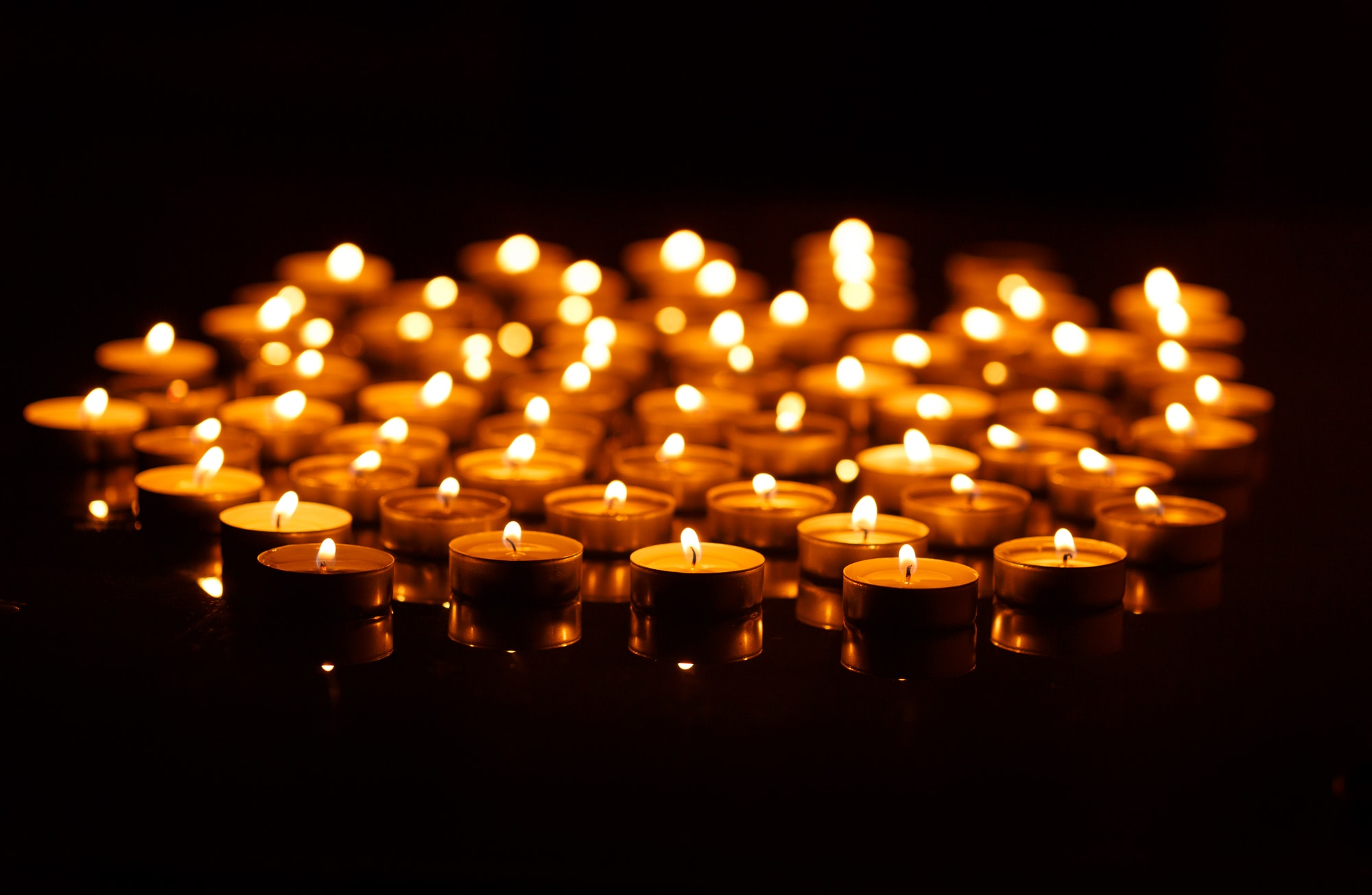 Candles burning in the night.